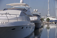 Dubai 13. A beautiful image of a large yaught docked at the marina Stock Image