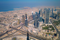 Dubai. The city of dubai seen from The Tallest Building in the World Royalty Free Stock Images