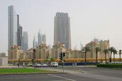 Dubai. UAE, Dubai, Financial Centre Road and Emaar Blvd crossroad Royalty Free Stock Images