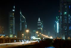 Dubai. A night scene of sheikh zayed road, dubai Stock Image