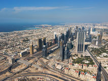 Dubai from above. View from above to the Dubai skyline Royalty Free Stock Photo