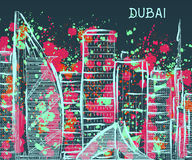 Dubai. Abstract cityscape with splashes in watercolor style Royalty Free Stock Images