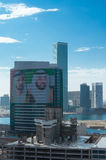 Dubai and Abu Dhabi's emir picture on skyscraper Stock Images