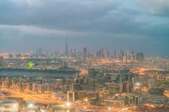 Dubai aerial skyline at dawn Stock Photography