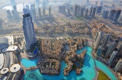 Dubai aerial view. View from above to the Dubai skyline royalty free stock photo