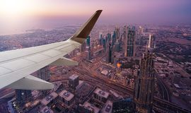 Dubai aerial view from airplane Royalty Free Stock Photography