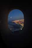 Dubai aerial view from the airplane window Stock Photos