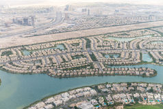 Dubai aerial view of homes near artificial canals Stock Photo