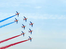 Dubai Air Show Acrobatic Display. Patrouille De France, the French aerobatic team, performs during the Dubai Air Show Stock Photography