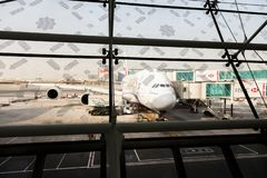 Dubai Airport, view from a terminal window royalty free stock photos