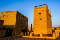 Dubai Al Shandagah Watch Tower Frontal stock photography