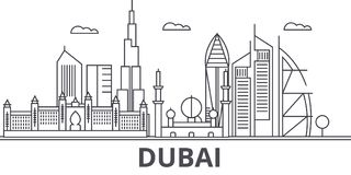 Dubai architecture line skyline illustration. Linear vector cityscape with famous landmarks, city sights, design icons Royalty Free Stock Images