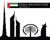 Dubai architecture vector set Stock Photos
