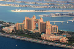 Dubai Atlantis Hotel The Palm Island aerial view photography Royalty Free Stock Images