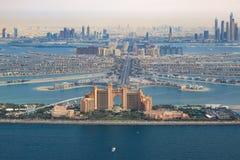 Dubai Atlantis Hotel The Palm Jumeirah Island aerial view photography. UAE royalty free stock image