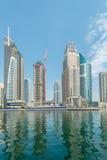 Dubai - 9. August 2014: Dubai-Jachthafenbezirk Stockbild