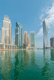 The dubai - august 9, 2014: dubai marina district on august 9 in uae. dubai is fastly developing city in middle east Stock Photos