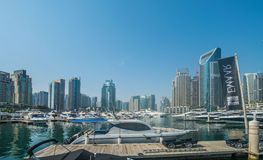Dubai - AUGUST 9, 2014: Dubai Marina district on Stock Image