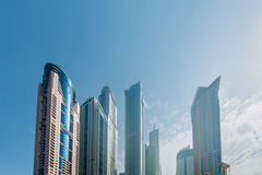 Dubai - AUGUST 9, 2014: Dubai Marina district on Royalty Free Stock Photography