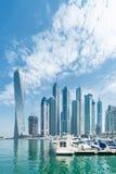 Dubai - AUGUST 9, 2014: Dubai Marina district on Royalty Free Stock Photography