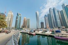 Dubai - AUGUST 9, 2014: Dubai Marina district on Royalty Free Stock Photo