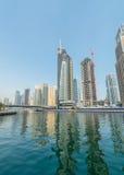 Dubai - AUGUST 9, 2014: Dubai Marina district on Royalty Free Stock Image