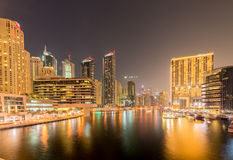 Dubai - AUGUST 9, 2014: Dubai Marina district on Stock Photography