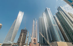 Dubai - AUGUST 9, 2014: Dubai Marina district on Royalty Free Stock Photos