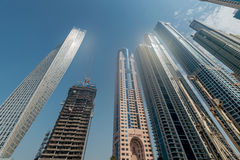 Dubai - AUGUST 9, 2014: Dubai Marina district on Royalty Free Stock Images