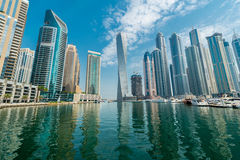 Dubai - AUGUST 9, 2014: Dubai Marina district on Royalty Free Stock Image