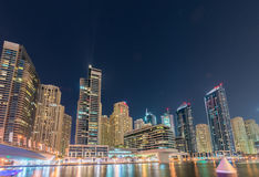 Dubai - AUGUST 9, 2014: Dubai Marina district on Royalty Free Stock Photo