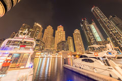 The dubai - august 9, 2014: dubai marina district Royalty Free Stock Image