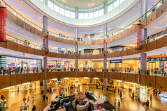 Dubai - AUGUST 7, 2014: Dubal Mall shopping mall. On August 7 in Dubai, UAE. Dubai is the center of trade in Middle East Stock Photos
