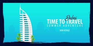 Dubai banner. Time to Travel. Journey, trip and vacation. Vector flat illustration. Dubai banner. Time to Travel. Journey, trip and vacation. Vector flat Stock Images