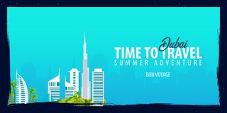 Dubai banner. Time to Travel. Journey, trip and vacation. Vector flat illustration. Dubai banner. Time to Travel. Journey, trip and vacation. Vector flat Stock Photos