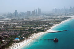 Dubai Beach Aerial View. A high level view of the Dubai Beach in Jumeirah with blue skies and sea Stock Photo