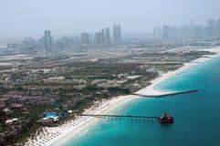Dubai Beach Aerial View. A high level view of the Dubai Beach in Jumeirah with blue skies and sea stock photo