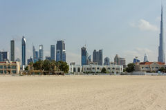 Dubai beach with the Burj Khalifa Tower Royalty Free Stock Photo