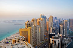 Dubai Beach Living. A close up of a cluster of residential buildings in the Marina and Jumeirah Beach Residence stock image