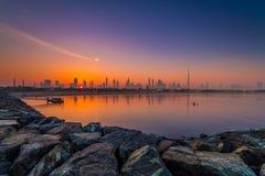 Dubai. Beautiful sunrise over dubai skyline royalty free stock images