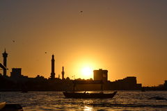 Dubai. Beautiful sunset over the sea Royalty Free Stock Photography