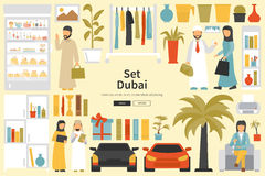 Dubai Big Collection in flat design concept. Furniture and People Set Interior Elements Stock Photos