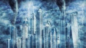 Dubai buildings during the heavy storm, rain and lighting in Dubai royalty free stock photography