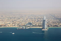 Dubai Burj Al Arab Hotel aerial view photography Royalty Free Stock Photo