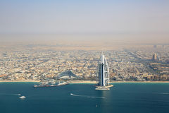 Dubai Burj Al Arab Hotel aerial view photography Royalty Free Stock Image