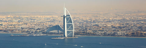 Dubai Burj Al Arab Hotel boats panorama panoramic aerial view ph Royalty Free Stock Photo