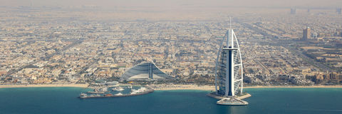 Dubai Burj Al Arab Hotel panorama panoramic aerial view photogra Royalty Free Stock Photography