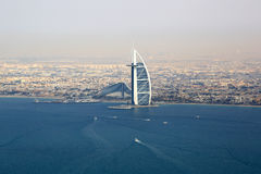 Dubai Burj Al Arab Hotel sea aerial view photography Royalty Free Stock Photography