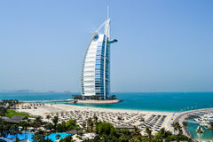 Dubai. Burj Al Arab hotel. DUBAI, UAE. Burj Al Arab hotel in Dubai. Burj Al Arab is a luxury 5 stars hotel built on an artificial island in front of Jumeirah Royalty Free Stock Images