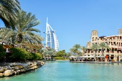 Dubai Burj al Arab. Мiew of the burj al-al-madin walk along the water Stock Photos